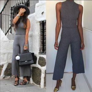 EUC Zara Knit Gray Jumpsuit - M